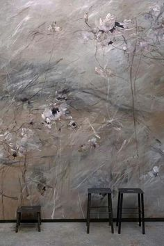 Painting: Flower Wall Mural by Claire Basler - Gallon Of Paint, Wall Murals, Wall Art, Flower Wall, Flower Mural, Flower Paintings, Wall Design, Design Bedroom, Painting Inspiration