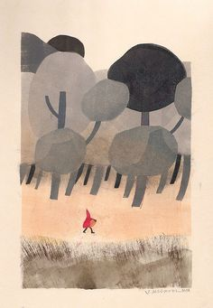 An iconic red-clad figure stands out in an otherwise-muted combination of greys /grays (flint, gravel, off-black), sand, light warm blush, and shades of umber | Joe Mclaren: Red Riding Hood | Flickr - Photo Sharing!