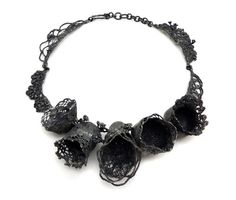 Nora Rochel. Necklace: Old Lace, 2013. Fair trade silver, blackened. Courtesy of Mobilia Gallery . Photo by Danielle Freiman..