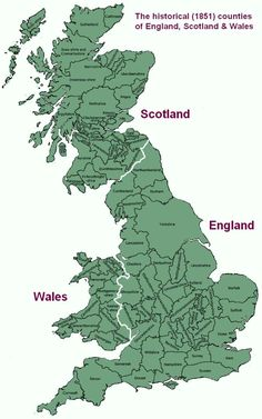 The historical (1851) counties of England, Scotland & Wales.