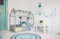 Mint, yellow and grey boys room, toddler bed, baby bed, children bed, montessori wooden house, nursery interior crib, toddler bedroom design, girl room