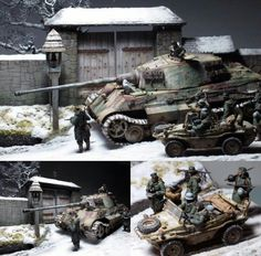 GERMAN KING TIGER AND SWIMWAGEN IN THE SNOW 1944 SCALE 1:35 DIORAMA