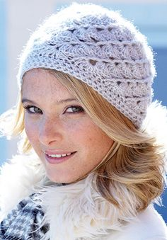 Lace Sequin - Swirl Hat (crochet)  Soft openwork swirls bring out the shine  of Patons Lace Sequin. 3c3061373e3