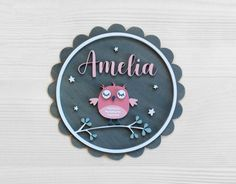 Your plaque will be lovingly designed on my computer, before being precisely cut out using a laser machine. Name Embroidery, Embroidery Flowers Pattern, Flower Patterns, Wooden Owl, Wooden Wall Art, Wooden Name Plaques, Owl Kids, Baby Door Hangers, Snow Flakes Diy