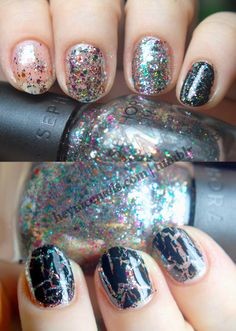 Sephora by OPI in Spark-tacular! Shown above from left to right with one, two, and three coats, then one coat over black. Below with OPI Black Shatter on top.