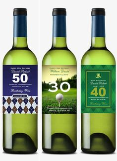 personalized Golf Sports Argyle BIRTHDAY PARTY wine bottle labels favors