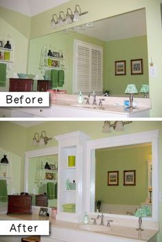 #3. Add molding (and shelves?) to an otherwise boring bathroom mirror. -- 27 Easy Remodeling Projects That Will Completely Transform Your Home (how to add storage space in a small bathroom)