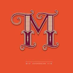 """""""Love Letter M"""" by Janice Rudan  #typography #lettering #LoveLetter…"""