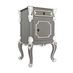 Ornate French Bedside Table in Grey (Alphonsine) from Out There Interiors French Bedside Tables, Interiors, Grey, Ash, Gray, Interior, Decorating, Repose Gray, Deco