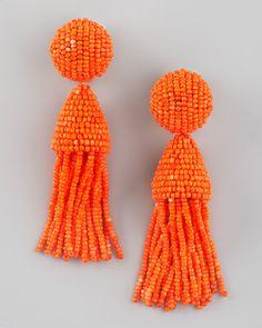 ODLR tangerine tassel earrings.