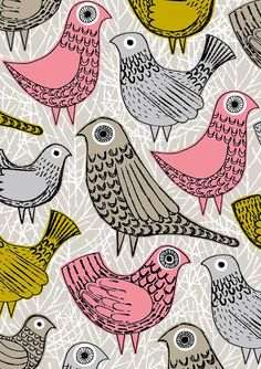 Pink Birds, limited edition giclee print by Eloise Renouf