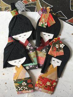 Japanese paper dolls, set of 4, kimono boys girls, pair couple, Handmade origami embellishment for wedding anniversary gift
