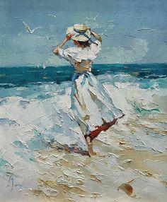 gesso 'Fresh Breeze' by Alexi Zaitsev Aesthetic Painting, Aesthetic Art, Art Sketches, Art Drawings, Images Murales, Illustration Manga, Arte Van Gogh, Impressionist Art, Classical Art