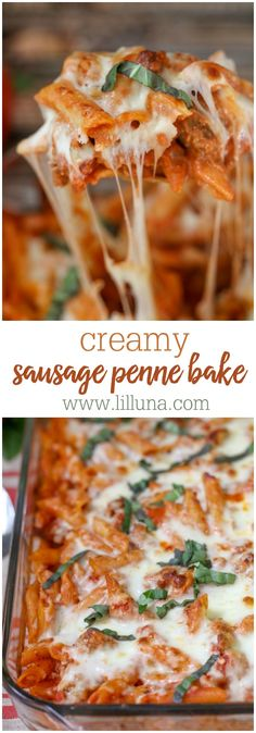 Creamy Sausage Penne Bake - a simple, delicious and hearty dinner recipe filled with penne, sausage, tomatoes, cream cheese, spices and topped with Mozzarella cheese!