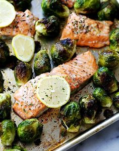 Sheet pan salmon with brussels sprouts. Get the recipe.