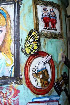 alice in wonderland, rain barrel,    http://www.facebook.com/pages/Jill-Sanders-Art/205859652782139?sk=wall