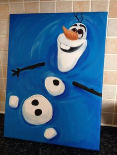 Stunning Christmas Canvas Paintings - Frozen Olaf Painting on a Canvas. Stunning Christmas Canvas Paintings - Frozen Olaf Painting on a Canvas. Christmas Paintings On Canvas, Easy Canvas Art, Simple Canvas Paintings, Small Canvas Art, Easy Canvas Painting, Mini Canvas Art, Diy Painting, Frozen Painting, Canvas Canvas