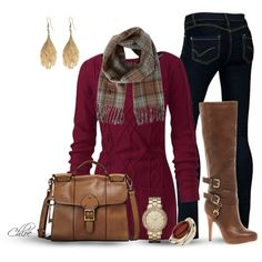 Ideas For Women's Winter Outfits ~ Browns & Burgundy