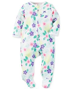 Carter's Baby Girls' Footed Purple Flower Coverall - Kids & Baby - Macy's
