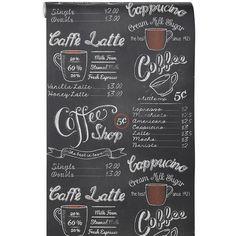 Creëer je eigen koffiebar en waan je een barista met dit eigenzinnige behang Oscar. Het behang lijkt een krijtbord met een menukaart en illustraties in wit en een vleugje rood. Kleur: zwart.