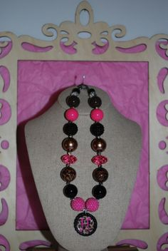 Chunky Bead Necklace ~ Personalize the bottle cap with your initial ~ Cheetah Bling  www.etsy.com/shop/beadazzledkiddos