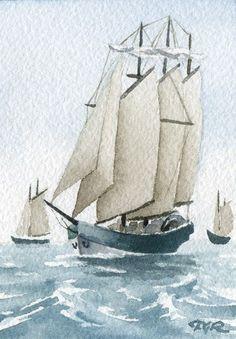 CLIPPER / SHIP Watercolor ART NOT CARDS Artist DJR by k9artgallery