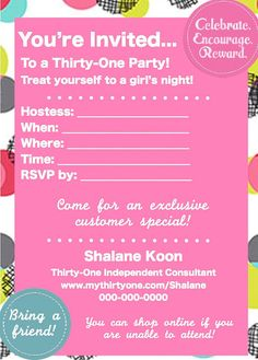 Thirty One Party Invitation Template