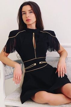 Stand Neck Hollow Out Tassel Black Casual Double Suit iulover Cute Dresses, Beautiful Dresses, Short Dresses, Couture Mode, Couture Fashion, Kpop Fashion, Runway Fashion, Kpop Mode, Look Retro