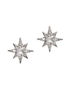 Anzie - Mini Aztec Starburst Studs - Clear Topaz