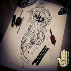 dream catcher tattoo design. howling Wolf