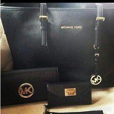 Black Michael Kors Bag and Wallet