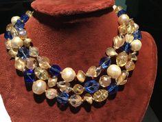 Vintage HATTIE CARNEGIE 3 strand Art Glass by souvenirstudioshop