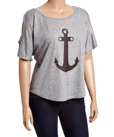 Look what I found on #zulily! Gray Anchor Cutout Top - Plus #zulilyfinds