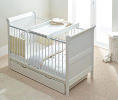 Charlotte Sleigh Cot Bed (Cotbed) Drawer & Top Changer Junior/Infant Bed…