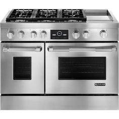 "Jenn-Air Pro-Style® Dual-Fuel Range with Griddle and MultiMode® Convection, 48"" JDRP548WP"