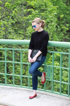 These red flats are adorable and make an otherwise simple outfit super cute.