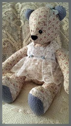 Pretty Floral Material on the body of this Teddy bear.  Heirloom Jointed Mini Roses Calico Specialty by victoriancrafts