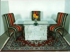Stone Table Base with Wood Beam  Village Craft Iron & Stone, Inc.