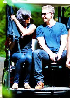 Josh Dallas and Lana Parrilla on set July 18th.