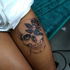 Cool Skull Tattoos For Women – My hair and beauty Dope Tattoos, Dream Tattoos, Skull Tattoos, Body Art Tattoos, Sleeve Tattoos, Tatoos, Tattoos On Thighs, Calf Sleeve Tattoo, Tribal Hip Tattoos