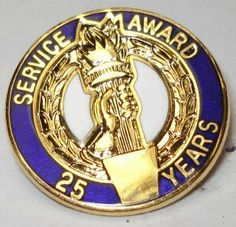 Service Award 25 Years Brass Lapel Pin by NiceBadge. $2.50. 25 Year Service Award Brass Lapel Pin! A great way to show your outstanding employees that you do notice the way the go above and beyond service.
