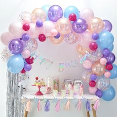 This Ginger Ray Pastel Balloon Arch Kit includes balloon tape and pastel-colored balloons that come in different sizes and designs. Use this balloon arch kit to decorate for an Easter party, baby shower, or any other occasion! Diy Ballon, Balloon Arch Diy, Ballon Rose, Ballon Arch, Balloon Backdrop, Balloon Garland, Balloon Display, Balloon Decorations Party, Balloon Columns