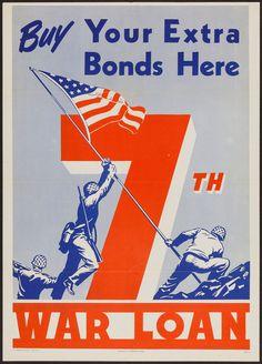 "Movie Posters:War, World War II War Bonds (U.S. Government Printing Office, 1945). 7thWar Loan Poster (20"" X 28""). ""Buy Your Extra Bonds Her..."