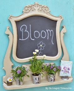 Don't discard part of a dresser....the old mirror makes a beautiful memo board using chalk paint and adding a shelf!