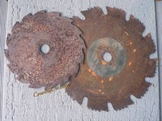 2 Unique  Rusty Saw Blades Industrial Recycled Rustic Wall Decor