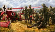 Manfred von Richthofen, the highest scoring ace of the First World War, was brought down on April 21, 1918. After the crash, Richthofen's body was removed and his famous all-red triplane was immediately set upon by souvenir hunters.