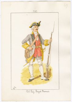 Royal Barvois Regiment of Foot 1757 by Charles Lyall Seven Years' War, 18th Century Clothing, American Revolutionary War, French Empire, French Army, Louis Xiv, Napoleonic Wars, Rifles, Military History