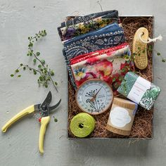 Hand-selected by our garden experts, this terrain-exclusive set is our favorite gift for the elegant plant-lover. Tucked into a galvanized iron gift box, each set includes a trio of floral cotton bandanas, a bar of honeysuckle vine soap, a cedar nail brush, a copper thermometer, a spool of jute garden twine, Japanese steel pruners, and a miniature lavender candle from Linnea's Lights.- A terrain exclusive- Set includes: 3 cotton bandanas, honeysuckle vine soap, cedarwood and boar bristle…