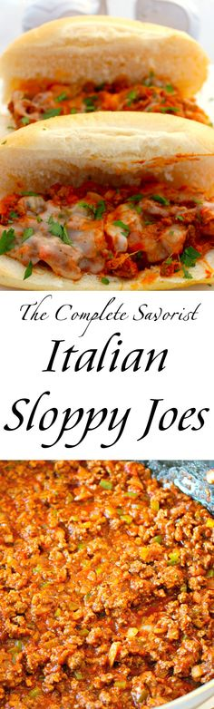 Italian Sloppy Joes ~ Thick, rich, chunky lean ground beef with onions and peppers smothered in provolone cheese. ~ The Complete Savorist
