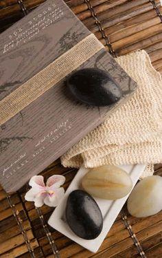 Four Stone-shaped Soaps w/Dish & Washcloth